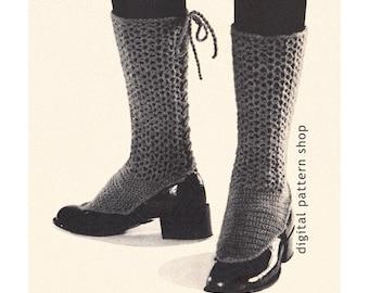 Lacy Spats Crochet Pattern Back Laced Adjustable Spats Vintage Crochet Leg Warmers Pattern Womens Digital Download PDF - C45