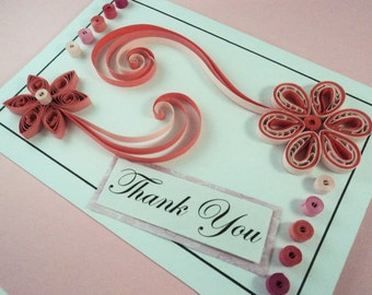 Handmade card, Quilled card, Greeting card, Pink quilled card, Flower card, Thank you card, Birthday card, Anniversary card, Pink card