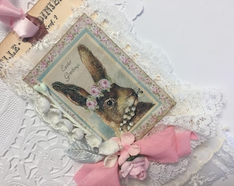 Easter Bunny Tag Bunny Art Tag Rose Lace Tag, Mixed Media Art Tag, French Gift Tag