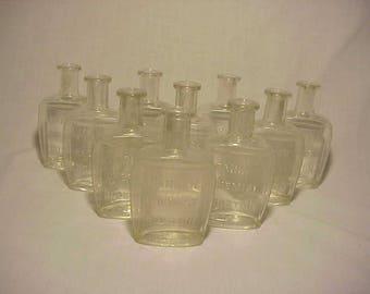 c1890s Group of 10 Blown glass Cork Top Blown Glass Parker Chemist Boston, Mass. Tooth Powder Dentist Bottles, Great Wedding Decor