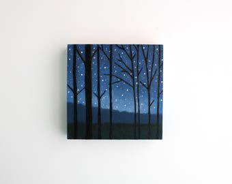 Forest at Night Painting - 4 x 4