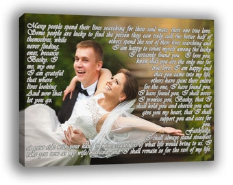Your text on canvas, Cotton Anniversary Gift, Wedding First Dance Lyrics, Photo with vows, Picture with custom text, Engagement, Love Poem