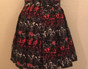 Walking Dead Printed Adult High Waisted Skater Skirts
