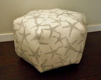 Beach Pouf, Grey Starfish Print, Nautical Pouf Ottoman, Floor Pillow, Stool, Beach House Decor, Large floor Cushion