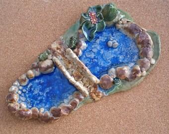 Ceramic pond with bridge - Terrarium ornament - Handbuilt stoneware art with glass - Ye olde stone bridge