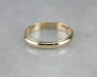 Vintage Milgrain Yellow Gold Wedding Band, Promise Ring 6F1LYQ59-N