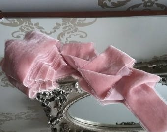 "Sumptuous pink with peachy tones hand dyed velvet ribbon measuring approx 2"" x 3 yards"