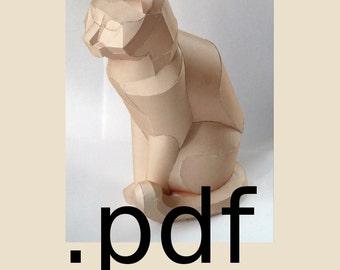 Sitting Cat Papercraft PDF - DIY Template