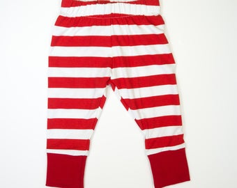 0-3 month Christmas leggings - Baby leggings - first Christmas red and white baby girl legging - holiday baby clothes - ready to ship