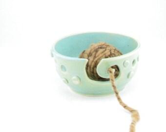 Yarn bowl, Knitting bowl, Modern yarn bowl knitting, Yarn organizer, Yarn bowl, Crochet bowl glossy celadon green glaze.  clay, knit bowl.