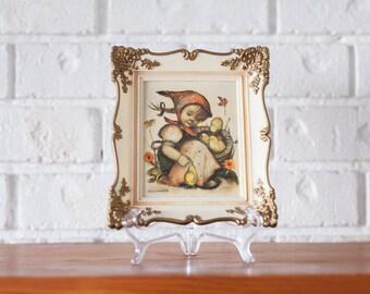 Set of 2 Hummel Print Mid-Century Prints in Plastic Ornate Frames
