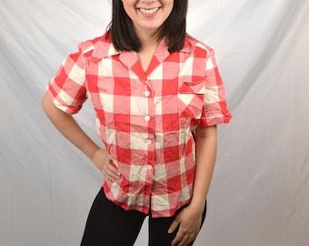 Vintage Womens Korday Plaid Pearl Snap Shirt - Dan River