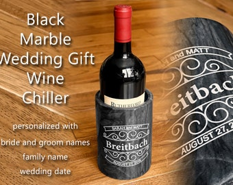 Personalized Wedding Couple Gift Black Marble Wine Chiller