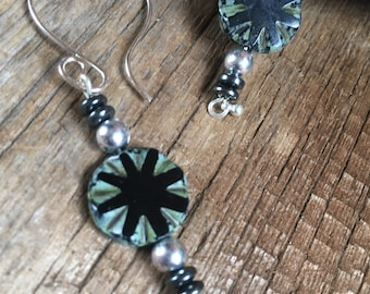 black & silver dangle earrings, Picasso glass black earrings, Mother's Day gift, gift for her, black silver jewelry, artisan earrings,
