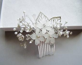 Bridal hair comb, pearl crystal hair comb, wedding hair combs, silver hair combs, crystal hair comb, bridal hair piece, flower head piece