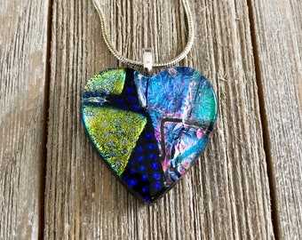 Patchwork Dichroic Fused Glass Heart Pendant, Pendant, Necklace, Heart Pendant, Patchwork, Silver Plated, Chain