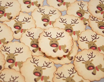 Christmas Stickers Red Nosed Reindeer Envelope Seals set of 12 or 24