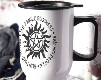 The Family Business, Saving People, Hunting People,  supenatural, Supernatural Inspired, Supernatural Gift, SPN, Aluminium Travel Cup