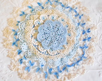 Vintage Crochet 9 Pieces Shades of Blue Lovely Crafting Display