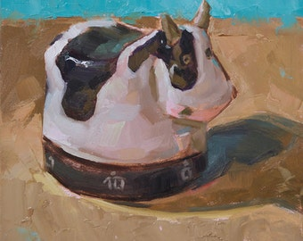 Original Oil Painting by Kathleen Coy. Cow Timer.