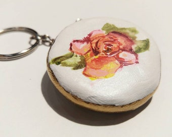 Pretty Hand Painted Flower Keychain