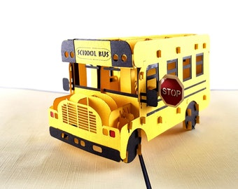 iGIfts And Cards School Bus 3D Pop Up Greeting Card - Yellow, Stop Sign, Pick Up - Folds Flat - Fun, Get Well, Graduation, Just Because