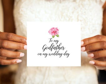 To my Godfather on my wedding day card, Godfather card, Godfather wedding card, Greeting card, Wedding day card