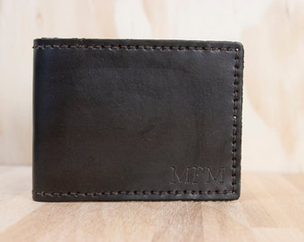 Personalized Mens Leather Wallet - Monogram Bifold Wallet  - Chocolate Brown Leather - Third Anniversary Gift