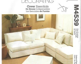 McCalls M4539 Instructions For Making Slipcovers For Sectional Sofa  Loveseat Chair And Patterns For Ottoman And