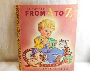 The Alphabet From A to Z - Little Golden Book - 1942 - vintage children's book - cursive writing