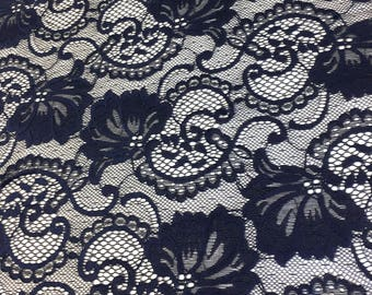"Navy Blue Stretch Lace Fabric Floral Embroidery Poly Spandex 58"" Wide BTY Wedding Apparel Victoria"