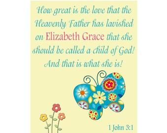 Butterfly Art Print for Kids Room, Nursery Decor, Bible Scripture Name Print, Baptism Gift