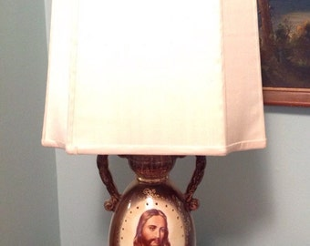 Light of World 1950s Jesus Lamp Signed C Miller