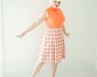 Vintage coral plaid dress, orange white sleeveless summer, L XL plus size, 1970s SALE
