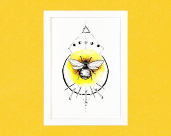 Bumblebee with Bones and Moon Phases Luxury Pen & Watercolour Illustration Print - A5 or A4