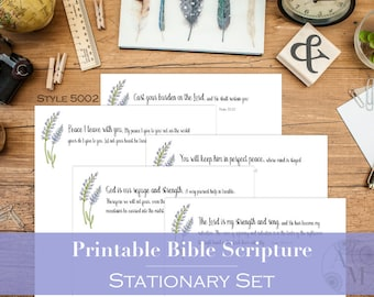 Printable Bible Scripture Stationary | Set of 5 Pages | Playful Typography & Hand Painted Lavender Floral Clipart | STYLE 5002 | PDF