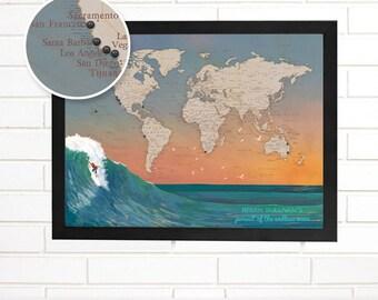 Push Pin Map, Personalized Surfing World Pushpin Map, Customized Surf World Push Pin Wall Map Art