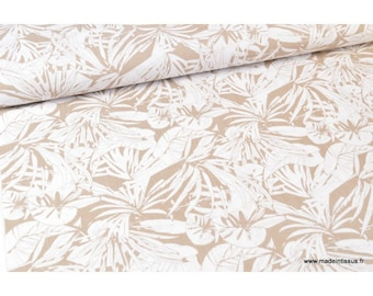 Foliage .x1m white and beige linen look Viscose fabric
