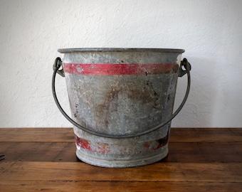 Farmhouse Garden Pail, Galvanized Bucket, Vintage Metal Pail, Feed Bucket