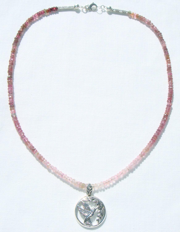pink tourmaline necklace sterling hummingbird pendant. Black Bedroom Furniture Sets. Home Design Ideas
