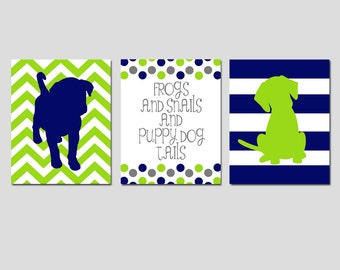 Modern Nursery Trio - Set of Three 11x14 Prints - Chevron Stripe Puppy Dogs, Polka Dot Quote - Frogs Snails Puppy Dog Tails