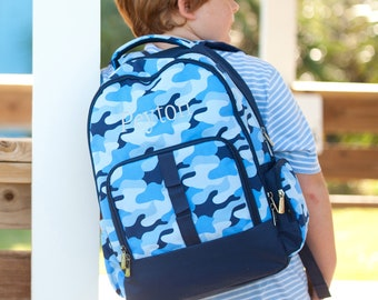 Cool Camo Boys Monogrammed Backpack, Monogram Book Bag, Back to School