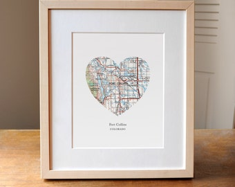 Fort Collins CO Heart Map Print, Colorado City Map Art, CO Map Gift, Heart Map Print, Gift for Friend, Anniversary gift