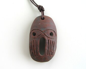 Tribal Pendant - face pendant, ceramic beads for jewelry, pendant beads, charm pendant, primitive mask, pendant