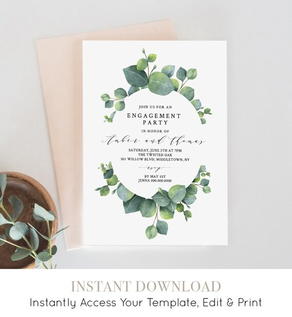 Engagement Party Invitation, Greenery Eucalyptus, INSTANT DOWNLOAD, 100% Editable Template, Boho Engaged Announcement Printable #036-114EP