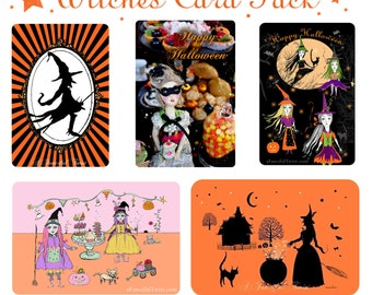 Witches Card Pack - 5 Postcard Set