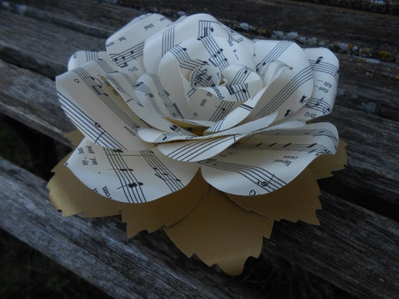 Sheet Music Cake Topper Flower. 6 inch.  CHOOSE Your SONG/COLORS.  Custom Orders Welcome.