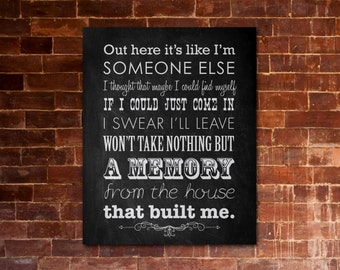 "MIRANDA LAMBERT ""House That Built Me"" PRINTABLE Lyrics Artwork - Chalkboard"