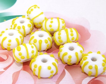 5beads/lot Charm Candy Yellow Dot  Rondelle White Lampwork gemstone beads 8mmx14mm