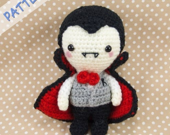 Vampire Crochet Pattern - Amigurumi Vampire Pattern - Vampire Amigurumi Pattern - Dracula Crochet Pattern - Halloween Doll Pattern